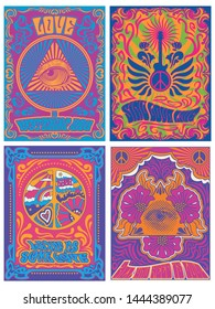 Vintage Psychedelic Arts 1960s, 1970s Music Covers, Posters Stylization, Eye Triangle, Guitar, Flowers, Peace Symbol Backgrounds