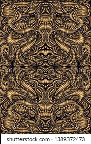 Vintage psychedelic fractal mandala pattern. Steampunk style, golden gradient colors, brown outline.  Vector illustration. Decorative ethnic abstract element.Texture with maze of ornaments.