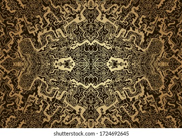 Vintage psychedelic fractal mandala pattern. Steampunk style, golden gradient outline colors, isolated on brown background. Vector illustration. Decorative  abstract element.