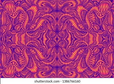 Vintage psychedelic trippy colorful fractal pattern. Gradient neon violet, orange colors. Decorative surreal abstract mandala with maze of ornament shamanic fantasy texture. Vector trance background.