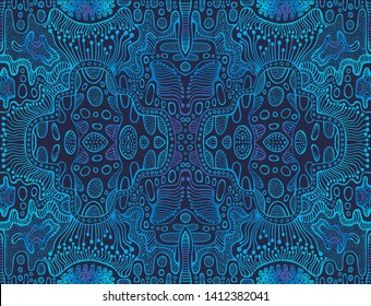 Vintage psychedelic tryppi colorful fractal pattern. Gradient blue, dark blue colors. Decorative surreal abstract mandala with maze of ornament shamanic fantasy texture. Vector organic background.