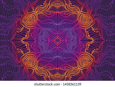 Vintage psychedelic tryppi colorful fractal pattern. Gradient neon violet, orange, pink colors. Vectore decorative surreal abstract mandala with maze of ornament shamanic fantasy texture.