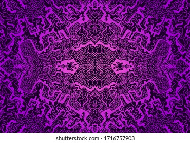Vintage psychedelic tryppi colorful fractal pattern. Gradient magenta, dark purple colors. Decorative surreal abstract mandala with maze of ornament shamanic fantasy texture. Vector organic background
