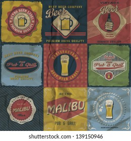 Vintage pub & grill label vector design set.