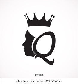 Vintage queen silhouette. Medieval queen profile. Fashion branding royal emblem with Q letter,  princess flat style