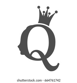 Vintage queen silhouette. Medieval queen profile. Fashion branding royal emblem with Q letter