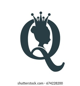 Vintage queen silhouette. Medieval queen profile. Elegant silhouette of a female head. Vector Illustration. Bun hairstyle. Monochrome gamma. Royal emblem with Q letter