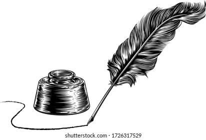 A vintage quill feather ink writing pen and inkwell in a retro woodcut or woodblock line art drawing style
