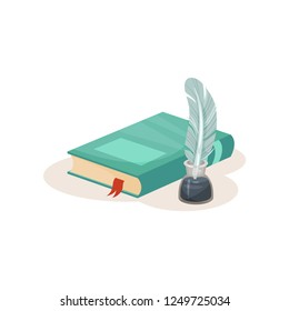 Vintage quill pen, inkwell and o book, symbols of retro writing, science and knowledge vector Illustration on a white background