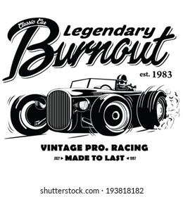 vintage race car burnout for printing.