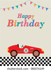 Vintage Race Car Happy Birthday Greeting Card Vector