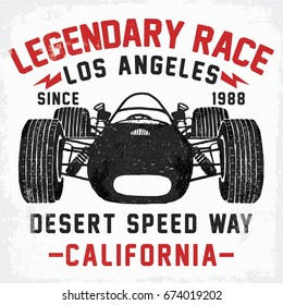 vintage race car illustration, vector, slogan