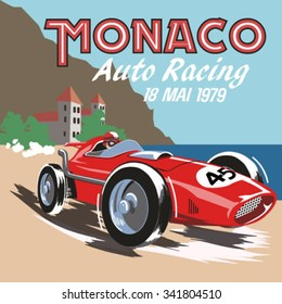 vintage race car for printing.Monaco retro car race.