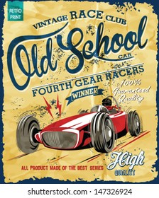 vintage race car for printing.vector old school poster.