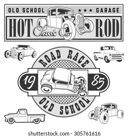 Vintage race car for printing.vector old school race poster.retro race car set.T-shirt printing designs