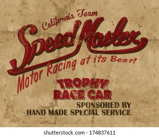 vintage race car sign