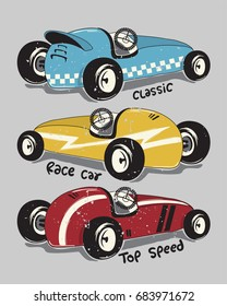 Vintage race cars typography t-shirt graphic isolated on gray background illustration vector.