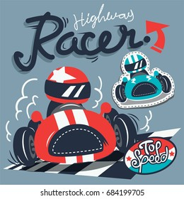 Vintage race cars typography t-shirt graphic isolated on gray background illustration vector, print for children wear.