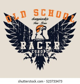 Vintage race and eagle t-shirt graphic