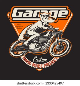 vintage race motorcycle for printing.vector old school race poster.wolf cartoon illustration