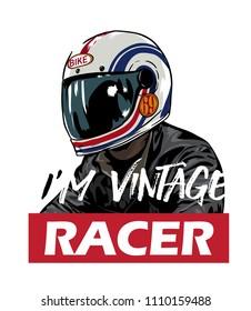 vintage racer in white helmet and leather jacket illustration