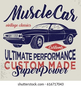 vintage racing car, T-shirt Graphics, Vintage typography, vector illustration