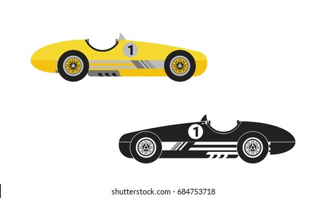 vintage racing car vector illustration