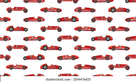 Vintage racing car vector pattern red