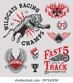 Vintage racing emblem graphics