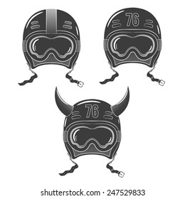 Vintage racing, snowboard helmet with goggles painted in the style of tattoos stamp.