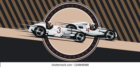 Vintage racing. Vector illustration. Retro sport cars.