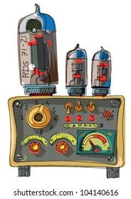 vintage radio - cartoon