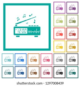 Vintage radio clock with music flat color icons with quadrant frames on white background