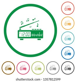 Vintage radio clock with music flat color icons in round outlines on white background