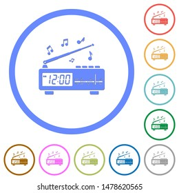 Vintage radio clock with music flat color vector icons with shadows in round outlines on white background