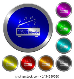 Vintage radio clock with music icons on round luminous coin-like color steel buttons