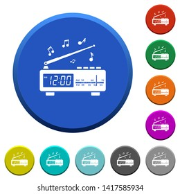 Vintage radio clock with music round color beveled buttons with smooth surfaces and flat white icons