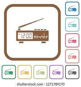 Vintage radio clock simple icons in color rounded square frames on white background