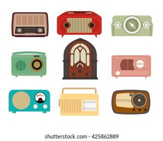 Vintage radio set vector