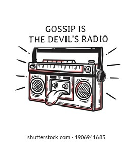 vintage radio vector illustration in classic style