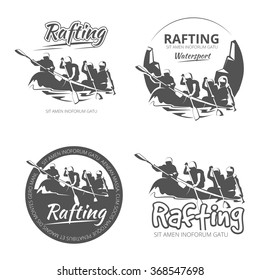 Vintage rafting, canoe and kayak vector labels, emblems and badges set. Canoe outdoor activity on river illustration