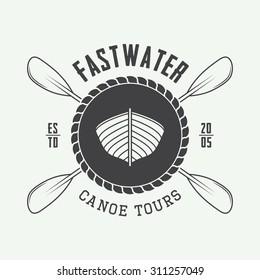 Vintage rafting logo, label or badge. Vector illustration