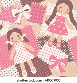 Vintage rag dolls seamless pattern. Patchwork background with cute toys. Vector illustration