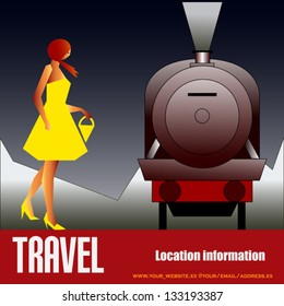 Vintage Rail Travel, vector background with an art deco style Steam Locomotive and girl in a yellow dress