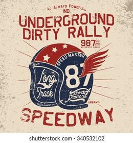 vintage rally helmet tee print design with grunge effect