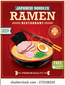 Vintage ramen noodles poster design with noodle and hot soup