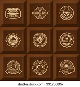 Vintage realistic vector logo template of premium craft chocolate label on chocolate bar