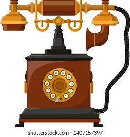 Vintage receiver telephone vector illustration