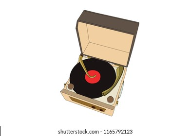 Vintage record player turntable vector illustration.