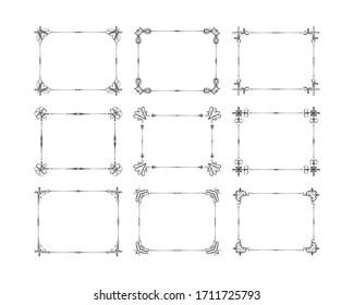 Vintage rectangular frames set. Filigree borders.  Vector isolated swirl elements. Royal wedding invitation card decor.